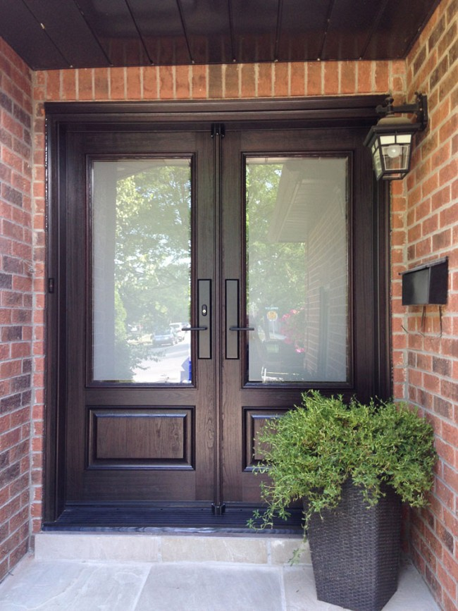 fiberglass-doors-installation-toronto-double-with-privacy-windows