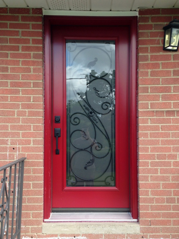 steel-door-installation-replacement-toronto-wrought-iron-red